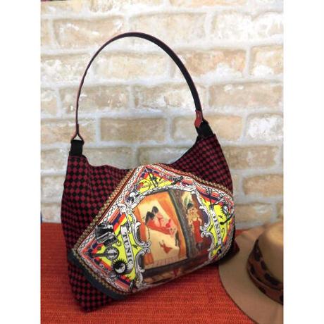 【鴨居キャラクター】スカーフ柄の街角の女Bag【トートバッグ】19184