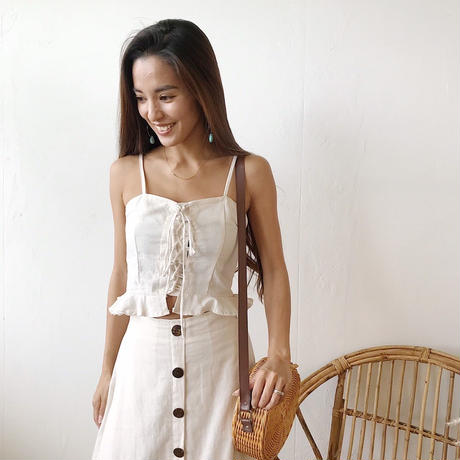 Linen Lace up Cami