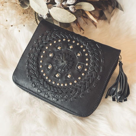 studs leather wallet