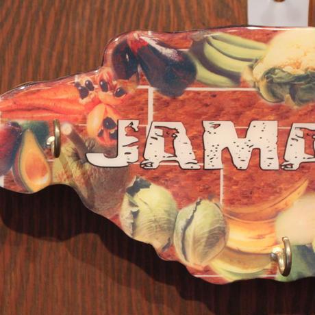 ジャマイカ島型  フルーツ 鍵掛け 壁掛け