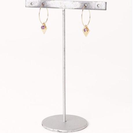 14kgf カラージルコニア×ダイヤプレートフープピアス/019057