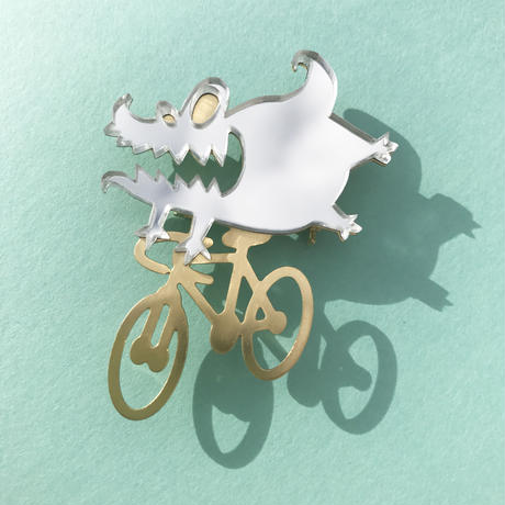 Reflector brooch Etxebarria riding monster -Silver & Gold-