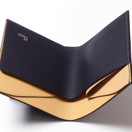SAIC(Portafoglio 札入れ②) フレンチオイルドカーフ<ネイビー>×ゴート<レモン>