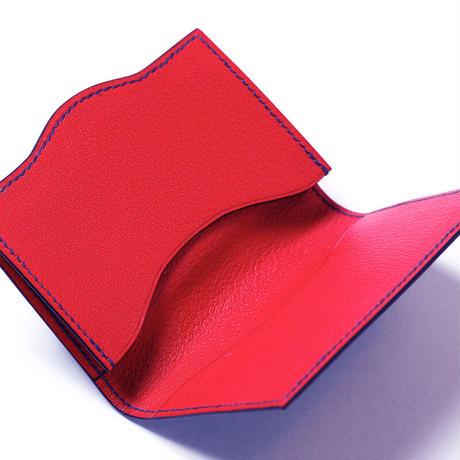 SAIC(Portabiglietto カードケース ⑨) アリゲーター<チャコール>×ゴート<レッド>
