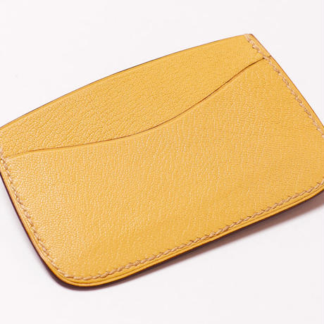 SAIC(Portabiglietto Slim カードケース⑥) アリゲーター<カーキ>×ゴート<レモン>