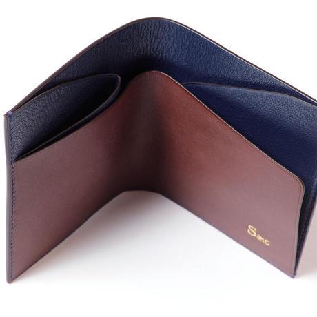 SAIC(Portafoglio 札入れ①) フレンチオイルドカーフ<こげ茶>×ゴート<ネイビー>