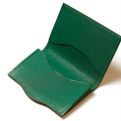 SAIC(Portabiglietto  カードケース⑩) フレンチカーフ<こげ茶>×ゴート<グリーン>