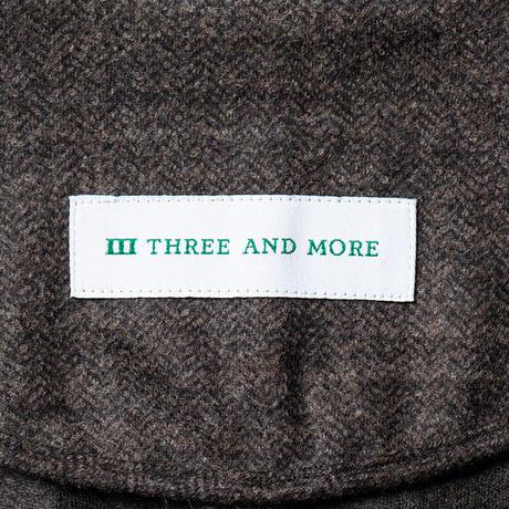 THREE AND MORE ケーシージャケット(ブラウン ヘリンボーン)