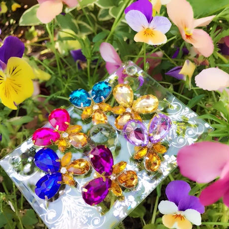 colourful Viola♡可憐なカラフルヴィオラパンジーピアス&イヤリング♡