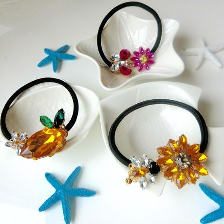 Lemon,Butterfly bijouLemon,Butterfly bijou hair elastic♡夏のビジューヘアゴム♡レモン、蝶とピンクマーガレット