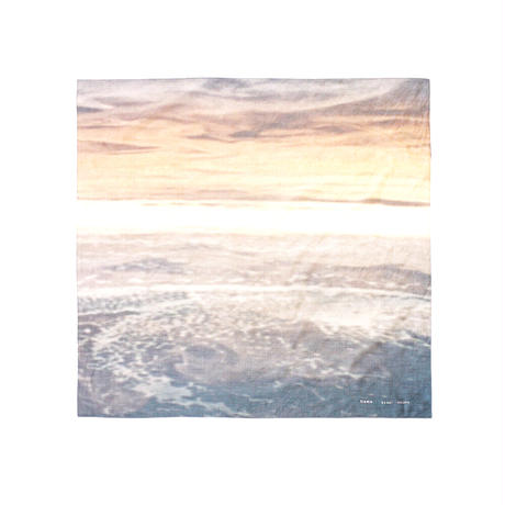 "Name.ネーム ""OCEAN PRINTED SILK COTTON SCARF"" オーシャンプリントシルクコットンスカーフ"