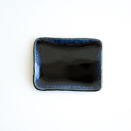 ルリ釉角皿(小)