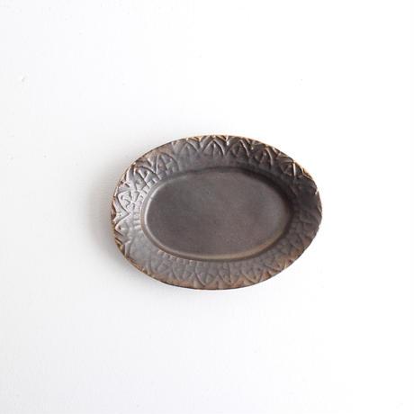 ブロンズ釉オーバル豆皿