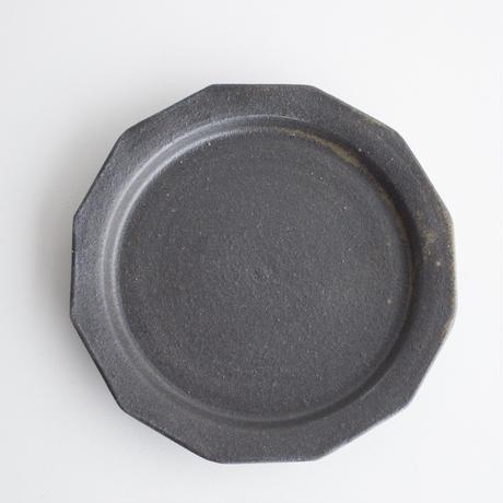 寺田昭洋 12角皿7寸黒