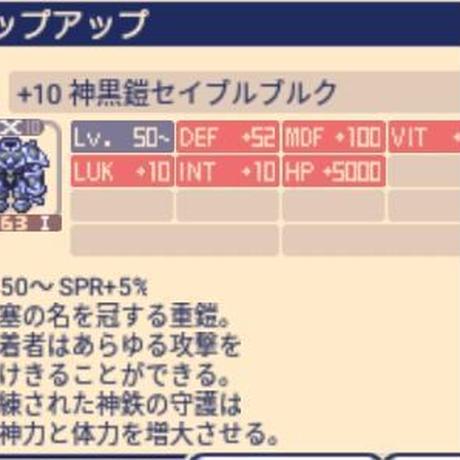 神黒鎧セイブルブルクX陰陽(INT+5) MDF+100 LUK+10 VIT+30 INT+10 チョコットランド