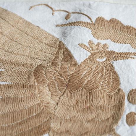 オトミ刺繍クッションカバー(ブラウン)