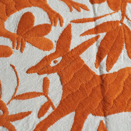 オトミ刺繍クッションカバー(オレンジ)