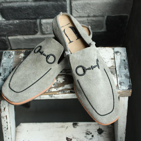 【OUTLET】SQUARE  MULE   SUEDE  GRAY (SIZE 6)