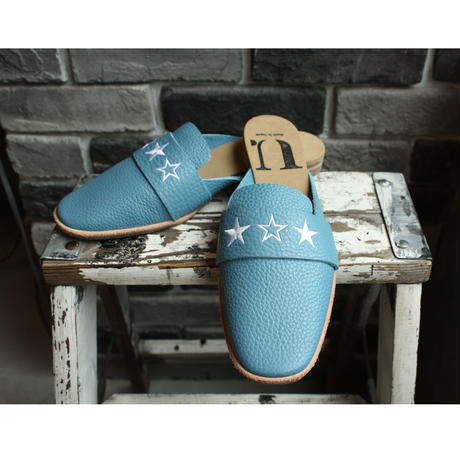 【OUTLET】EMBROIDERED SQUARE MULE  SHRINK BLUE(SIZE 4)