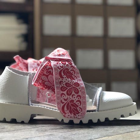 【U-807-2003】TANK SHOES ( SHRINK WHITE / PVC CLEAR / RED RIBBON )