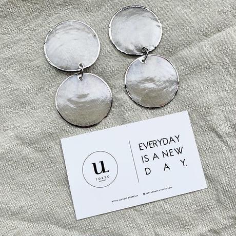shell  silver oval pierce・earring