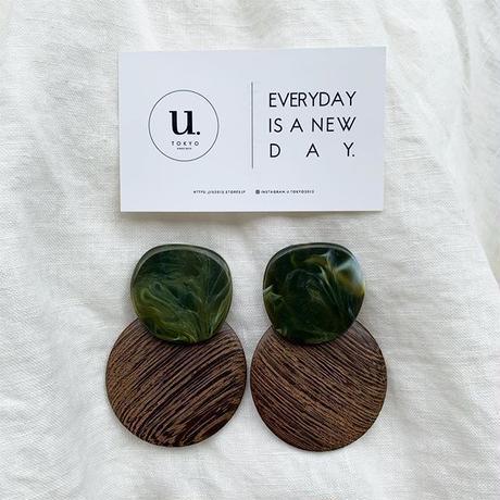 green marble wood oval pierce・earring