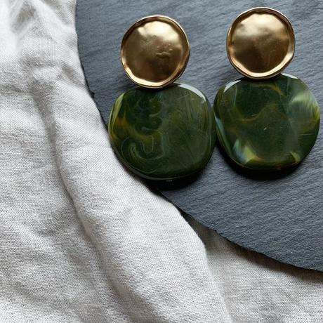 vintage  gold green marble pierce