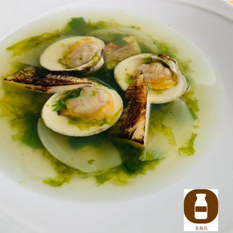 白ハマグリと筍の和スープ