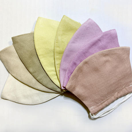 日本製  ワイルドシルク100%マスク / 草木染 / アイボリー /  緑茶 (Wild Silk)
