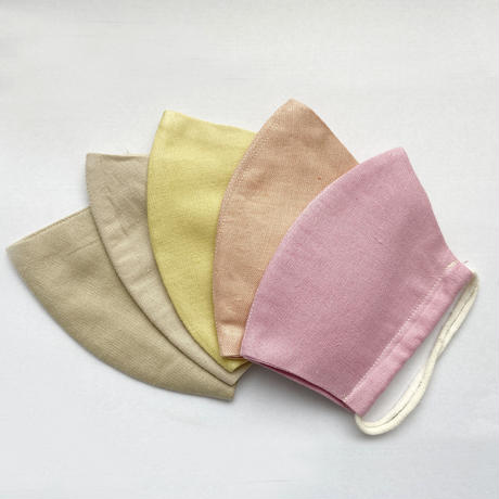 日本製  / ワイルドシルク100%マスク /  草木染  / 黄色(Wild Silk)