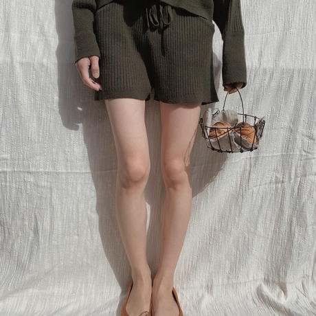 lib knit set up short pants/ moss green