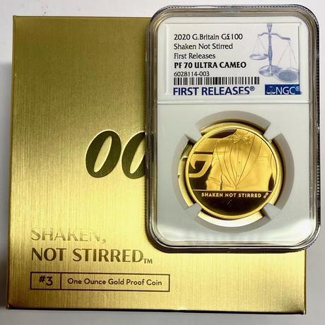 【NGC・PF70UC +FR】第3貨1オンス金貨 007 ジェームズ・ボンド 100ポンド金貨 プルーフコイン ゴールド 2020 ロイヤルミント イギリス 英国 James Bond