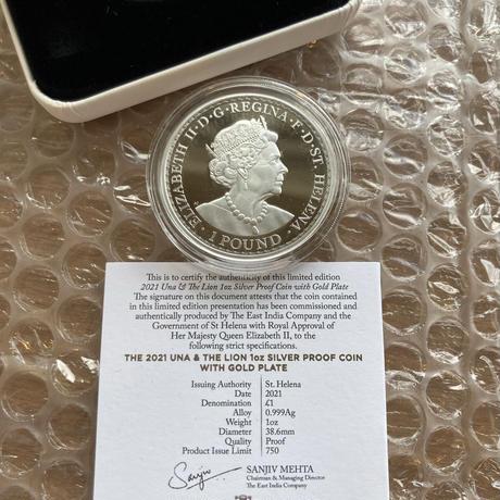 GOLD-PLATED ウナとライオン 2021 セントヘレナ 1オンス銀貨 シルバー プルーフコイン 金メッキ  UNA LION