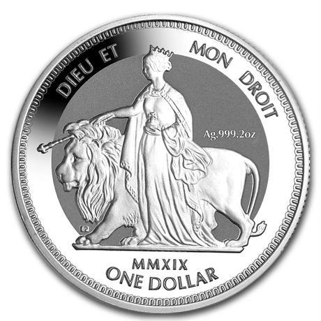 【2オンス】ウナとライオン 2019 イギリス領 ヴァージン諸島 1ドル銀貨 2oz コイン 英国 BVI シルバー