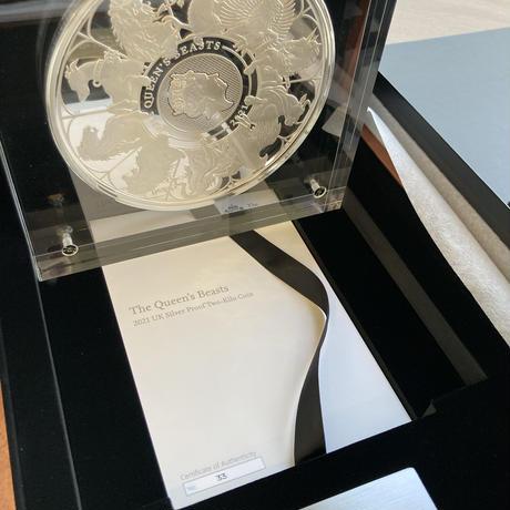 【取扱いラスト1枚】2kg Completer版 2021 クイーンズビースト 2キログラム 1,000ポンド銀貨 プルーフコイン ロイヤルミント QUEEN'S BEASTS