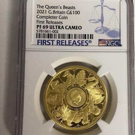 【NGC鑑定 PF69】クイーンズビースト 2021 コンプリーター版 1オンス 100ポンド金貨 ゴールド プルーフコイン QUEEN'S BEASTS COMPLETER