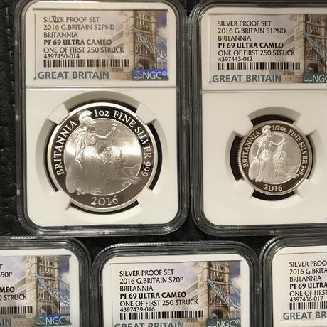 【NGC PF69UC】2016 ブリタニア銀貨 5枚セット イギリス 英国 プルーフ シルバー 250 STRUCK