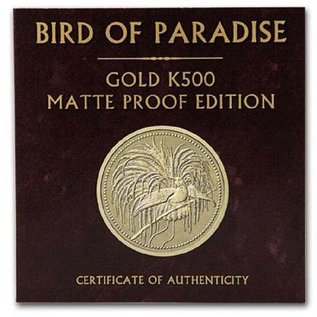 PCGS70鑑定確定品 2020 パプアニューギニア 極楽鳥 500キナ 1オンス金貨 ゴールド マットプルーフコイン Papua New Guinea Bird of Paradise matte
