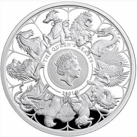 2kg Completer版 2021 クイーンズビースト 2キログラム 1,000ポンド銀貨 プルーフコイン ロイヤルミント QUEEN'S BEASTS