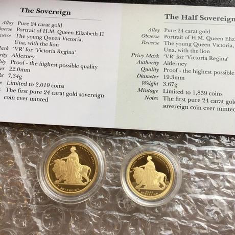 ウナとライオン 2019 オルダニー島 24k ソブリン金貨セット ゴールドコイン Alderney Una Lion sovereign gold coin set