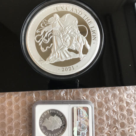 【1kg・発行50枚】ウナとライオン 2021年 セントヘレナ 1キログラム £50銀貨 シルバー プルーフコイン Una & the Lion 1kg Silver Proof Kilo Coin