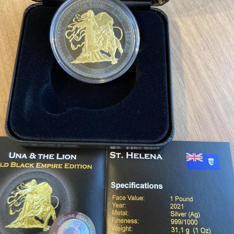 ウナとライオン 2021 ゴールドブラックエンパイア版 銀貨 1オンスシルバーコイン Una Lion Gold Black Empire silver coin