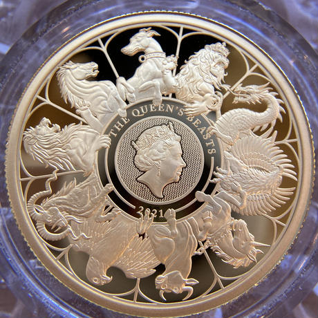 ※ケースキズあり 2021 クイーンズビースト コンプリート・最終版 1オンス 100ポンド金貨 ゴールド プルーフコイン QUEEN'S BEASTS COMPLETER 1oz Gold