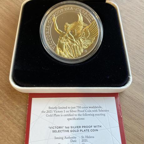 金メッキ版 セントヘレナ 2021 女王の美徳シリーズ 勝利 1オンス銀貨 シルバー プルーフコイン VICTORY 1oz silver proof coin gold plate