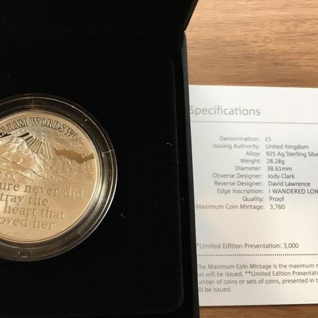 2020 イギリス ウィリアム・ワーズワース生誕250周年 5ポンド銀貨 プルーフコイン 箱ケース付き ロイヤルミント
