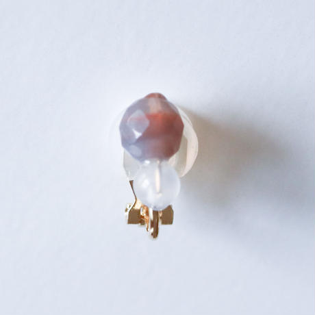 Grape Maru Earring  GREY x WHITE