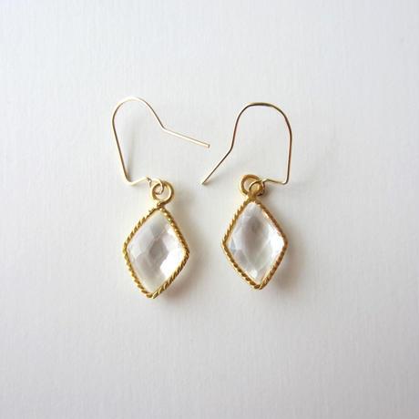 【UE095】 Crystal Gold Diamond Earring 14KGF(クリスタル ゴールドダイアモンド ピアス)