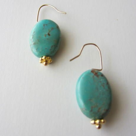 【UE087】Turquoise Gold Flower Earring 14KGF(ターコイズゴールドフラワーピアス)
