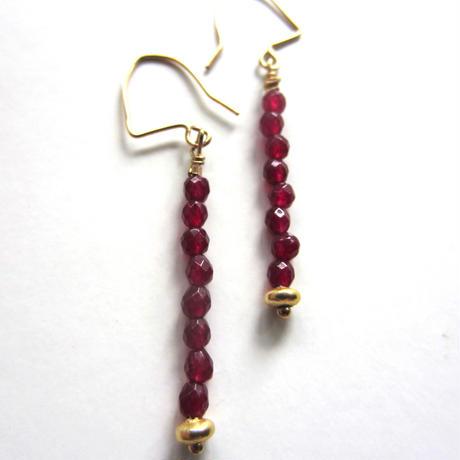 【UE054】 Ruby Line Earring 14KGF(ルビー ライン ピアス)
