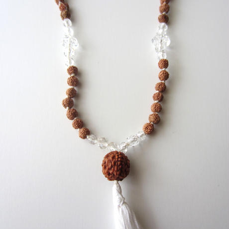 【UN055】108 Rudraksha Mala(Brilliant Crystal ブリリアントクリスタル ルドラクシャ マーラー)